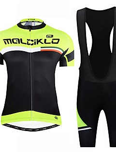 billige Sykkelklær-Malciklo Sykkeljersey med bib-shorts - Svart / Gul Sykkel Sykkelshorts Med Seler / Jersey / Klessett, Refleksbånd Lycra / YKK-glidelås / Formsydd / Italia Importert blekk
