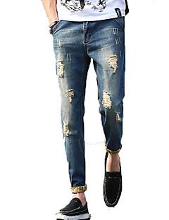 billige Herrebukser og -shorts-Herre Store størrelser Tynn Jeans Bukser Ensfarget