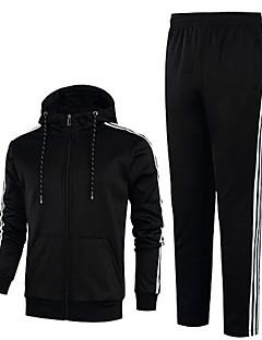 billige Hættetrøjer og sweatshirts til herrer-Herre Basale Aktiv beklædning sæt - Stribet