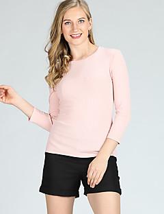 billige Kvinner Gensere-Dame Grunnleggende Pullover - Ensfarget