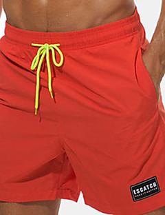 billige Herrebukser-Herre Boheme Plusstørrelser Bomuld Chinos / Shorts Bukser - Ensfarvet / Bogstaver Broderi / Trykt mønster Orange / Sommer / Strand