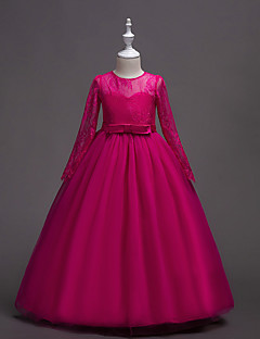 זול שמלות תחרה לבנות-בנות בסיסי / מתוק מכנסיים - אחיד תחרה בז' / Party / מקסי / כותנה