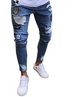 billige Herrebukser og -shorts-Herre Gatemote / Punk & Gotisk Jeans Bukser Ensfarget