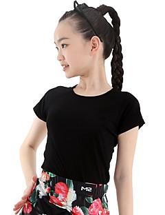 tanie Dziecięca odzież do tańca-Taniec latynoamerykański Topy Damskie / Dla dziewczynek Szkolenie Modalny Materiały łączone Krótki rękaw Naturalny Top