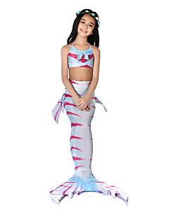 billige Halloweenkostymer-The Little Mermaid Badetøy Bikini Kostume Jente Barne Vintage Halloween Karneval Festival / høytid Halloween-kostymer Drakter Fuksia Havfrue