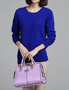 billige T-shirt-T-shirt til kvinder - solid farvet rund hals