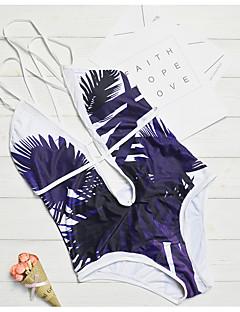 billige Bikinier og damemote 2017-Dame Med stropper Grønn Rød Lysebrun Cheeky En del Badetøy - Geometrisk Trykt mønster M L XL / Sexy