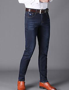 billige Herrebukser og -shorts-Herre Tynn Jeans Bukser - Ensfarget Blå