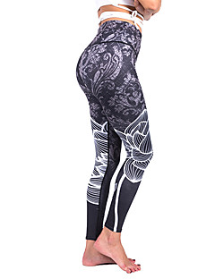 billiga Träning-, jogging- och yogakläder-Dam Sexig Träningsoverall / Yoga byxor - Grå sporter Blomtryck Elastan Hög midja Cykling Tights / Leggings Löpning, Fitness, Dans Sportkläder Anatomisk design, Andningsfunktion, Push up-byxor Elastisk