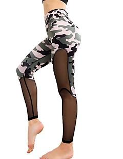 billiga Träning-, jogging- och yogakläder-Dam Lappverk Yoga byxor sporter Kamouflage Mesh Hög midja Cykling Tights Löpning, Fitness, Gym Sportkläder Snabb tork, Andningsfunktion, Bekväm Microelastisk