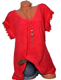 billige Kvinde Toppe-Dame - Ensfarvet Blonder Basale Skjorte
