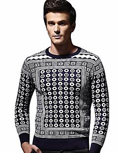 tanie Męskie swetry i swetry rozpinane-Męskie Podstawowy Kołnierzyk koszuli Pulower Geometryczny Długi rękaw