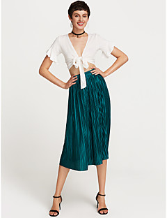 cheap Women's Skirts-Women's Going out Basic / Chinoiserie Cotton A Line / Swing Skirts - Solid Colored Pleated High Waist
