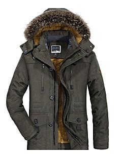 ieftine Jacheta cu Puf  Bărbați și Parka-Bărbați Mărime Plus Size Capișon Căptușit - Mată Bumbac / Manșon Lung