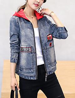billige Kvinder Overtøj-kvinders denim jakke - moderne hooded