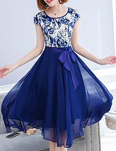 Χαμηλού Κόστους Φορέματα Μεγάλα Μεγέθη-Γυναικεία Μετάξι Swing Φόρεμα - Γεωμετρικό Μίντι Ψηλή Μέση