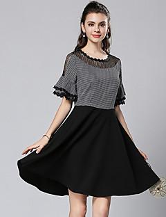 Χαμηλού Κόστους Φορέματα Μεγάλα Μεγέθη-Γυναικεία Γραμμή Α Φόρεμα - Houndstooth, Patchwork Ως το Γόνατο