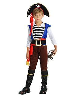 billige Halloweenkostymer-Pirat Kostume Gutt Barn Halloween Halloween Karneval Barnas Dag Festival / høytid Drakter kaffe Ensfarget Stripet Halloween