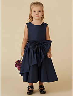 tanie Ubiór ślubny dla dzieci-Krój A Lekko nad kolana Sukienka dla dziewczynki z kwiatami - Tafta Bez rękawów Łódeczka z Kokardki przez LAN TING BRIDE®