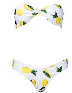 billige Bikinier og damemote 2017-Dame Stroppeløs Bikinikjole - Trykt mønster, G-streng Frukt