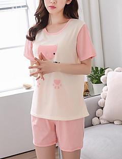 baratos Pijamas Femininos-Mulheres Decote Redondo Conjunto Pijamas Geométrica