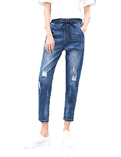 billige Kvinde Underdele-Dame Aktiv Jeans Bukser - Hul, Ensfarvet