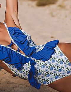 Χαμηλού Κόστους Women's Swimwear-Γυναικεία Μπόχο Βυθίζοντας το λαιμό Ένα κομμάτι - Με Βολάν, Προκλητικό Φλοράλ