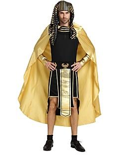 billige Voksenkostymer-Egyptiske Kostymer Kostume Herre Videregående skole Halloween Halloween Karneval Maskerade Festival / høytid Halloween-kostymer Drakter Gylden Ensfarget Stripet Halloween