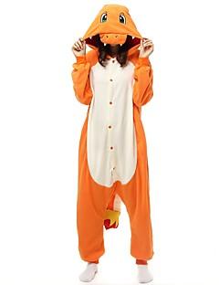 billige Kigurumi-Voksne Kigurumi-pysjamas Tegneserie Onesie-pysjamas Polar Fleece Gul Cosplay Til Damer og Herrer Pysjamas med dyremotiv Tegnefilm Halloween Festival / høytid