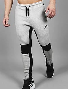billige Trening, fitness og yoga-Herre Lomme Jogger bukser / Treningsbukser - Mørkegrå, Grå sport Stribe Vevde bukser Trening, Trene Sportsklær Pustende, Myk, Svettereduserende Elastisk