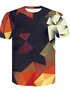 cheap Up to $9.99-Men's T-shirt - Geometric / 3D Print Round Neck / Short Sleeve