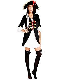billige Halloweenkostymer-Pirates of the Caribbean Kostume Dame Voksen Halloween Jul Halloween Karneval Festival / høytid Drakter Svart Ensfarget Halloween