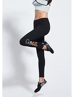 baratos Leggings para Mulheres-Mulheres Diário Esportivo Legging - Estampa Colorida / Letra Cintura Média
