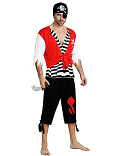 billige Halloweenkostymer-Pirates of the Caribbean Pirat Kostume Herre Voksen Halloween Halloween Karneval Maskerade Festival / høytid Drakter Svart Ensfarget Stripet Halloween