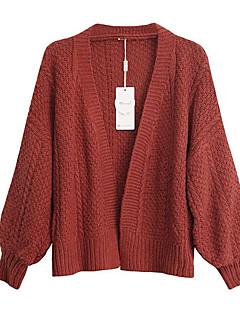 baratos Suéteres de Mulher-Mulheres Para Noite Manga Longa Carregam - Sólido / Colarinho Chinês