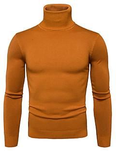tanie Męskie swetry i swetry rozpinane-Męskie Wyjściowe Solidne kolory Długi rękaw Regularny Pulower, Golf Granatowy / Żółty / Jasnoszary L / XL / XXL