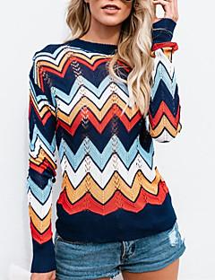 baratos Suéteres de Mulher-Mulheres Diário Listas Estampa Colorida Manga Longa Padrão Pulôver, Decote Redondo Azul Marinha M / L / XL