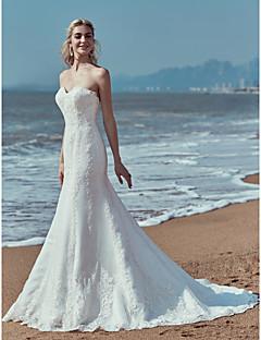 Χαμηλού Κόστους Φορέματα για παραλία και μήνα του μέλιτος-Τρομπέτα / Γοργόνα Καρδιά Ουρά μέτριου μήκους Δαντέλα Φορέματα γάμου φτιαγμένα στο μέτρο με Διακοσμητικά Επιράμματα / Δαντέλα με LAN TING BRIDE® / Με Όμορφη Πλάτη
