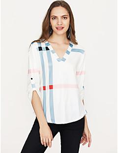 Χαμηλού Κόστους Prugasto & Καρό-Γυναικεία T-shirt Βαμβάκι Καρό Λαιμόκοψη V Φαρδιά / Άνοιξη / Φθινόπωρο