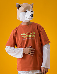 billige Masker-Dyremønster Maske / Høytidssmykker Cosplay / Halloween Grå / Gul Kort Papir Cosplay-tilbehør Karneval / Nytt År / Valentinsdag kostymer