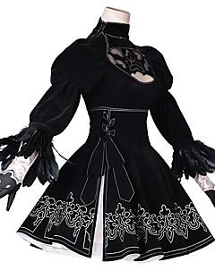 """billige Anime Kostymer-Inspirert av Nier: Automata 2B Anime  """"Cosplay-kostymer"""" Cosplay Klær Animé / Blomster / botanikk Kjole / Hansker / Strømper Til Dame"""