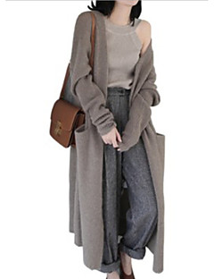 cheap Women's Sweaters-Women's Daily Solid Colored Long Sleeve Loose Long Cardigan, V Neck Black / Camel One-Size