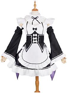 """billige Anime cosplay-Inspirert av Re: Zero - Start livet i en annen verden Stuepike Kostumer / Rem / Ram Anime  """"Cosplay-kostymer"""" Cosplay Klær Blonder Langermet Halsklut / Kjole / Ermer Til Jente"""