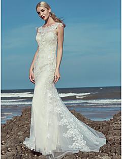 billiga Brudklänningar-Trumpet / sjöjungfru Scoop Neck Golvlång Spets / Tyll Bröllopsklänningar tillverkade med Bård / Spets av LAN TING BRIDE®