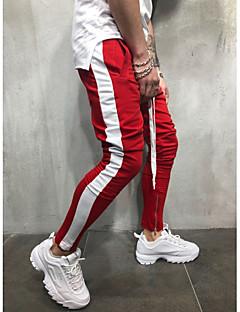 billige Underdele til mænd-Herre Basale / Gade Plusstørrelser Bomuld Joggingbukser Bukser Ensfarvet Blå & Hvid / Sort & Rød / Sort og hvid