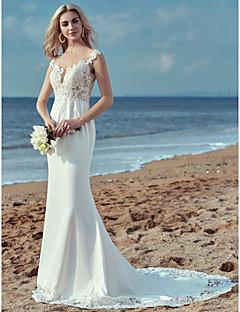 billiga Brudklänningar-Åtsmitande Illusion Halsband Svepsläp Spets / Satäng Bröllopsklänningar tillverkade med Spets av LAN TING BRIDE®