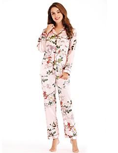 billige Moteundertøy-Dame Dyp V Dress Pyjamas - Blomstret
