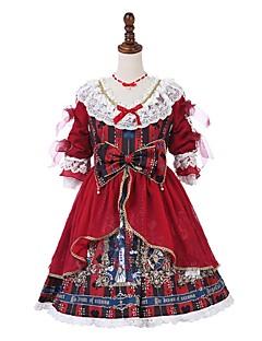billiga Lolitaklänningar-Klassisk / Traditionell Lolita Söt Lolita Rokoko Spets Dam Klänningar Festklädsel Maskerad Cosplay Röd Sydd spets Klocka Halvlång ärm Midi Kostymer