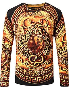 tanie Męskie swetry i swetry rozpinane-Męskie Rozmiar plus Okrągły dekolt Szczupła Pulower Abstrakt Długi rękaw