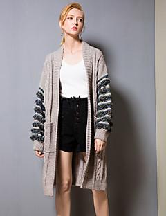 baratos Suéteres de Mulher-Mulheres Básico Luva Lantern Carregam - Estampa Colorida, Paetês